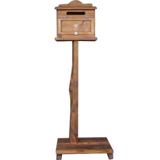 アンティークブラウン ステンシル郵便マーク入り木製横型ポスト ひのきの自然木台つき オーダーメイド