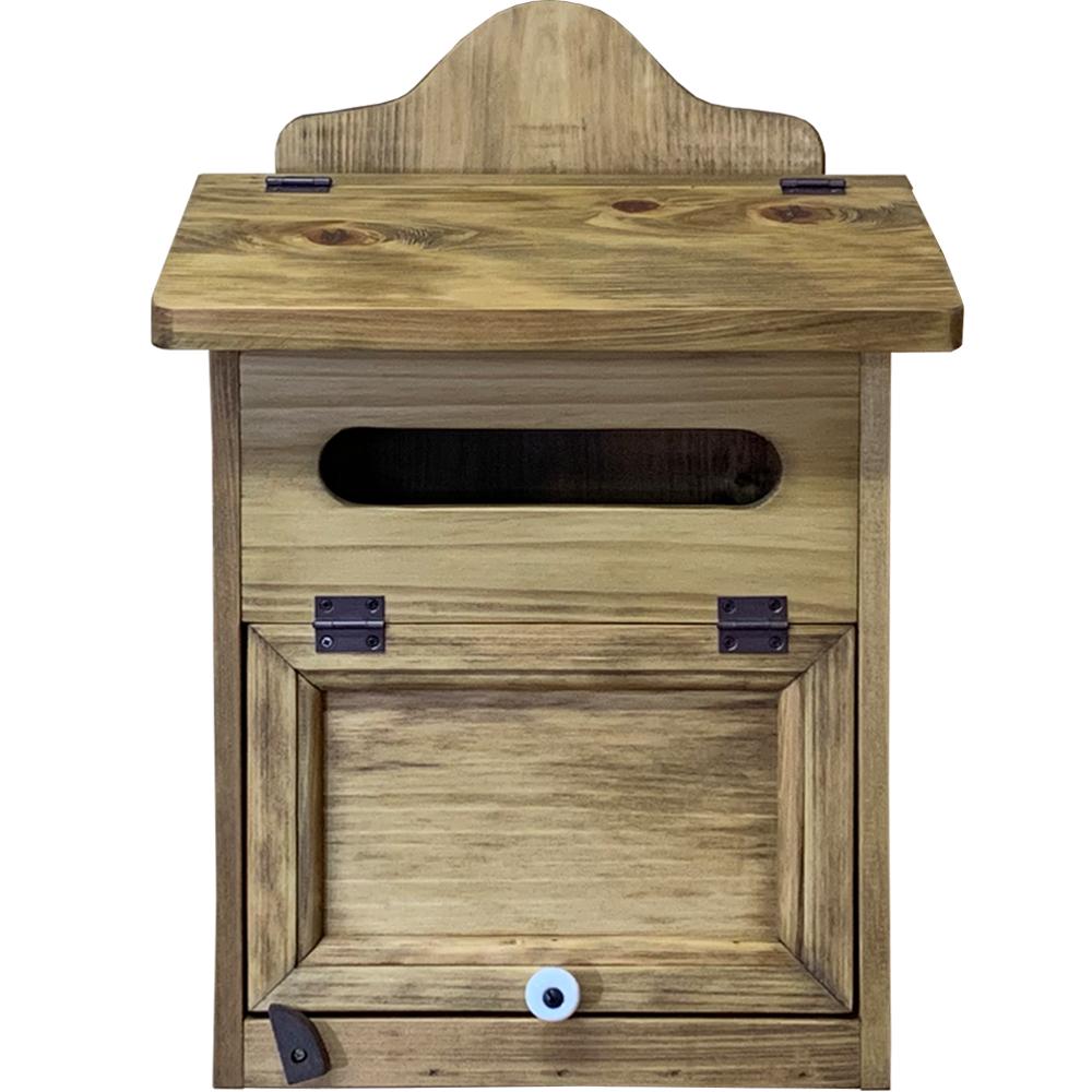 ポスト 奥行き17cm 木製扉 縦型 29×20×41cm アンティークブラウン 木製 ひのき ハンドメイド オーダーメイド 1327933