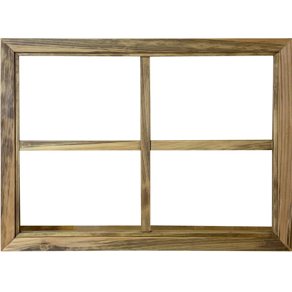 ガラスフレーム 透明 片面十字桟 窓 アンティークブラウン 45×2×60cm 北欧 木製 ひのき ハンドメイド オーダーメイド 1327933