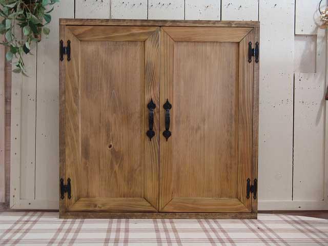 室内窓 木製扉 吹き抜け窓(60×60cm) マグネット仕様 アンティークブラウン 受注製作