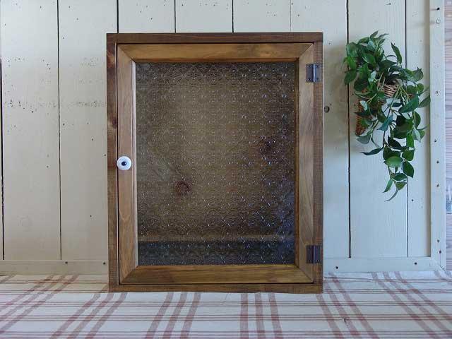 キャビネット トイレットペーパー 収納 フローラガラス 木製 ひのき背板付き(ニッチ用埋め込みタイプ) 受注製作