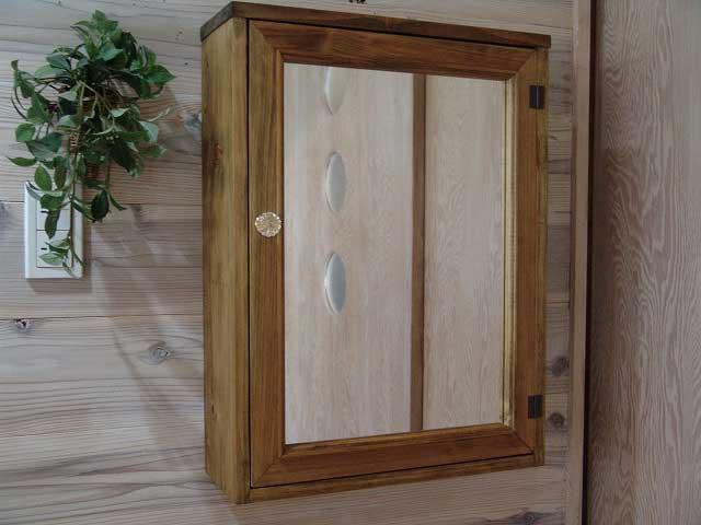 アンティークブラウン ミラー扉の木製キャビネットシェルフ 全面ミラータイプ背板つき パンプキンノブ・マグネットタイプ(45×15×60cm) 受注製作