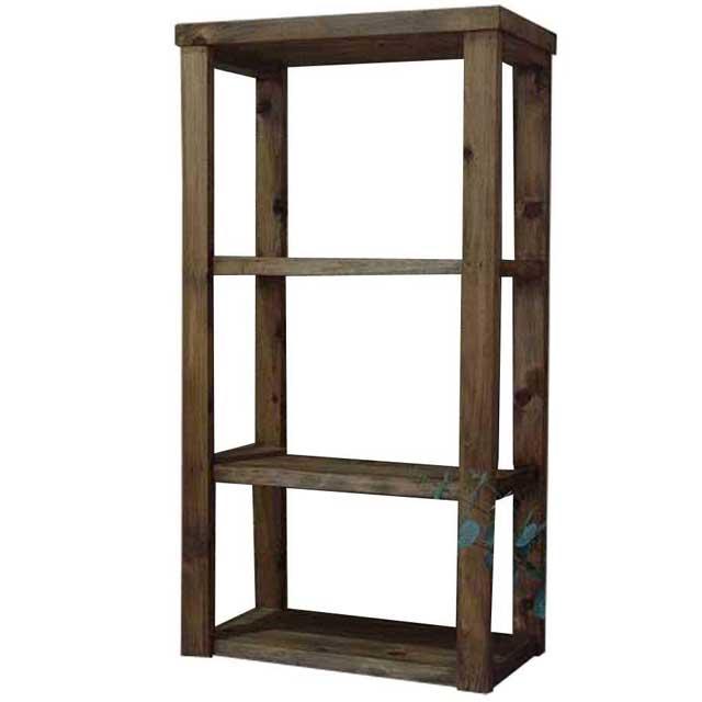 三段ラック 3段 アンティークブラウン w45d24h84cm 背板なし 木製 ひのき オーダーメイド