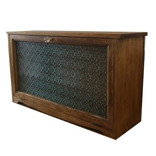 キャビネット 木製 ひのき 横型キャビネット フローラガラス 60×18×33cm おうちカフェ 飾り脚 パンプキンノブ アンティークブラウン 受注製作
