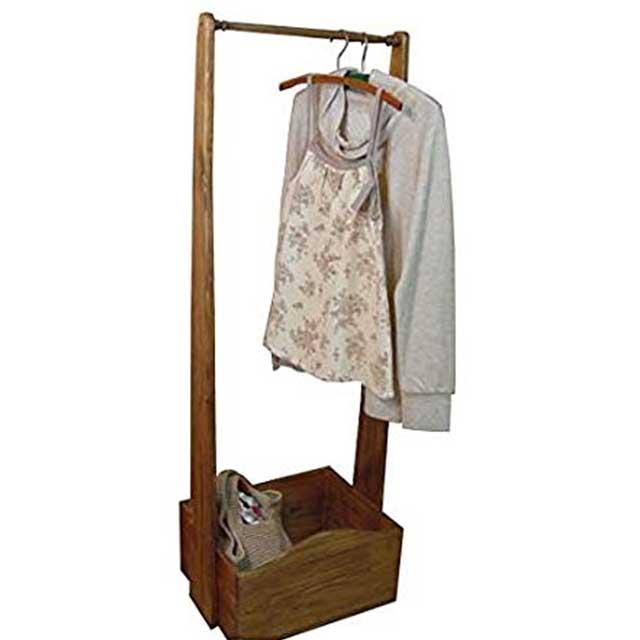 ハンガーラック ボックスつき アンティークブラウン w47d35h135cm 洋服掛け 木製 ひのき オーダーメイド