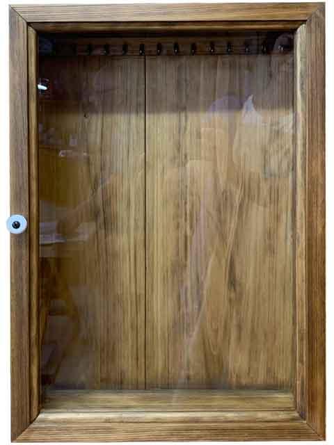 アクセサリーケース 透明ガラス扉 フック付き 32x10x46cm アンティークブラウン 木製 ひのき ハンドメイド オーダーメイド
