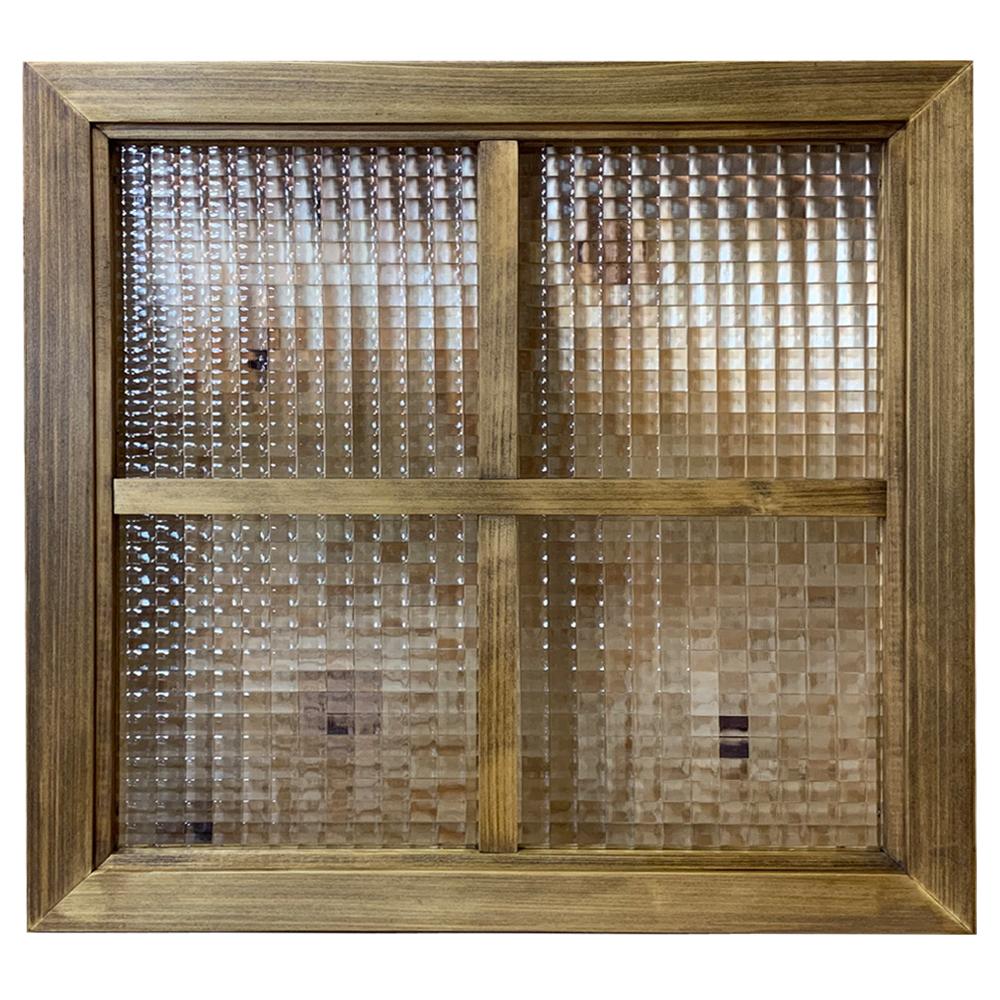 室内窓 チェッカーガラス窓 50×3.5×50cm アンティークブラウン 両面十字桟入り 木製 ひのき ハンドメイド 北欧 オーダーメイド