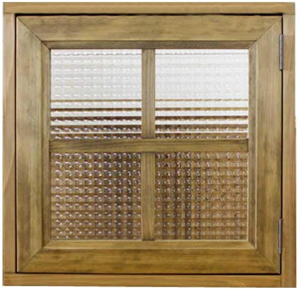 室内窓 採光窓 片右開き チェッカーガラス 43×15×42cm 扉厚み3cm アンティークブラウン 木製 ひのき ハンドメイド オーダーメイド 1327933