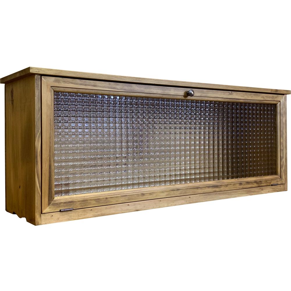 キャビネット 横型 チェッカーガラス扉 白陶器取っ手 80×20×30cm アンティークブラウン 木製 ひのき ハンドメイド オーダーメイド