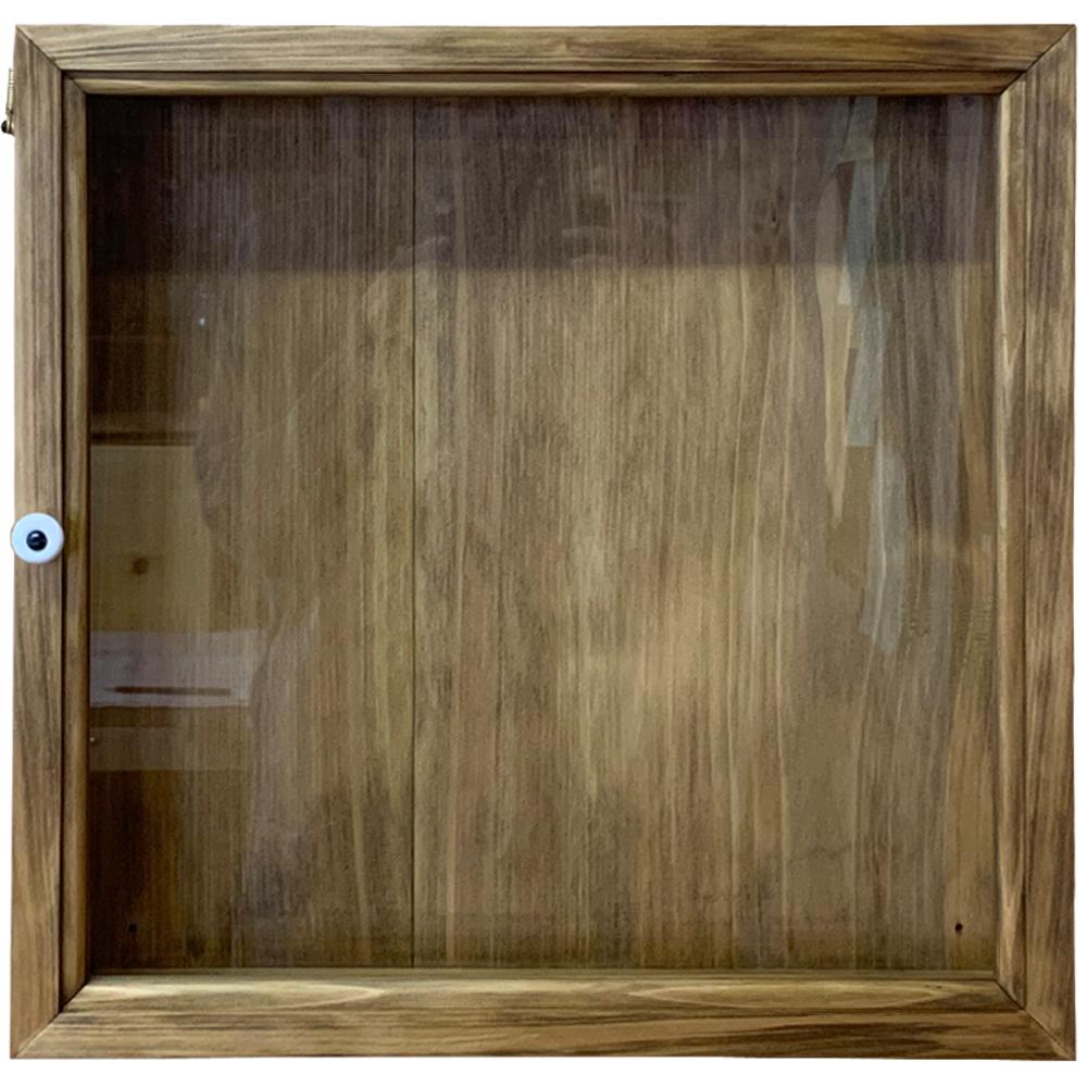 ディスプレイケース 透明ガラス アンティークブラウン 40×9×40cm 四角 木製 ひのき ハンドメイド オーダーメイド