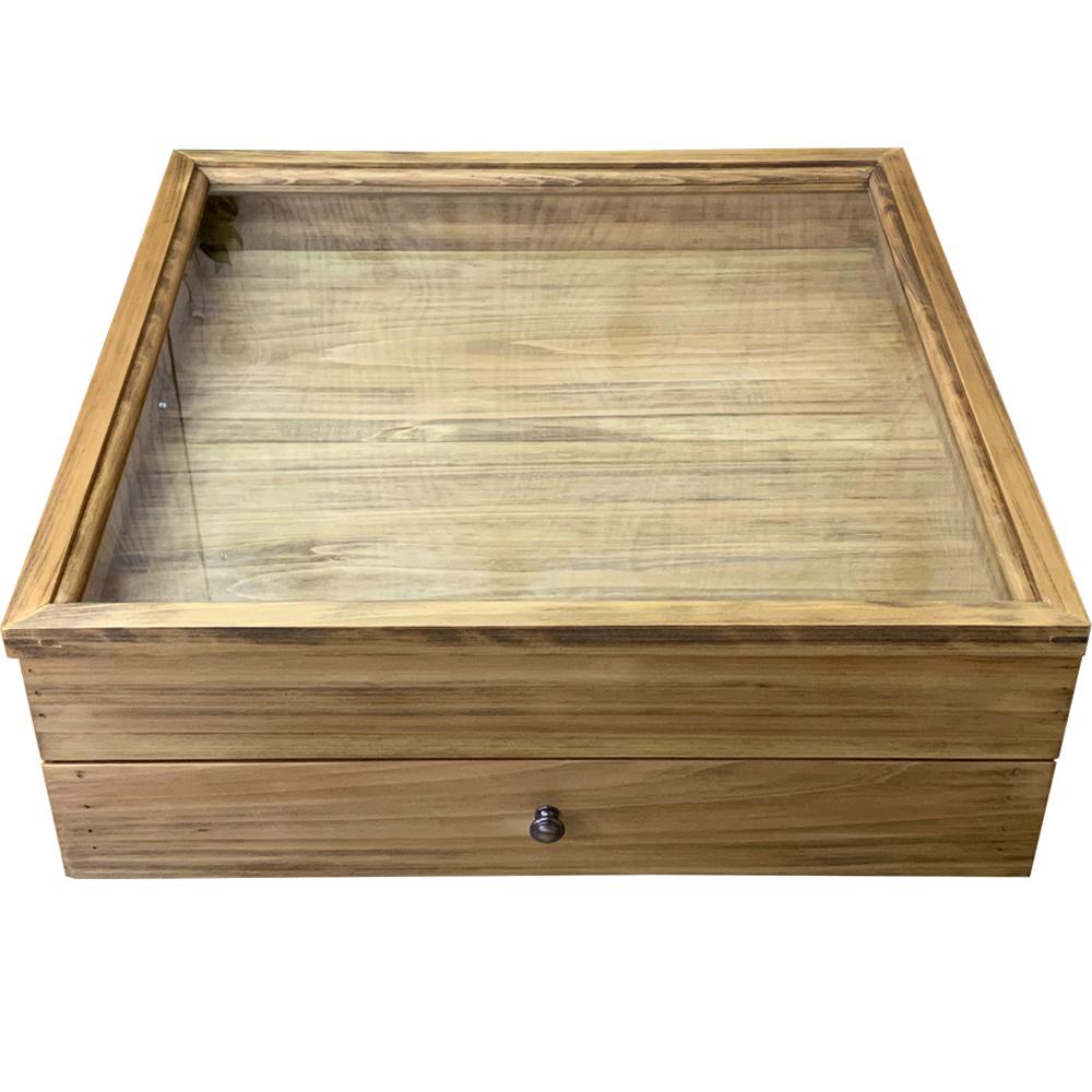 コレクションケース 下段引き出し式 透明ガラス アンティークブラウン 50×50×17.5cm 真鍮つまみ 木製 ひのき ハンドメイド オーダーメイド