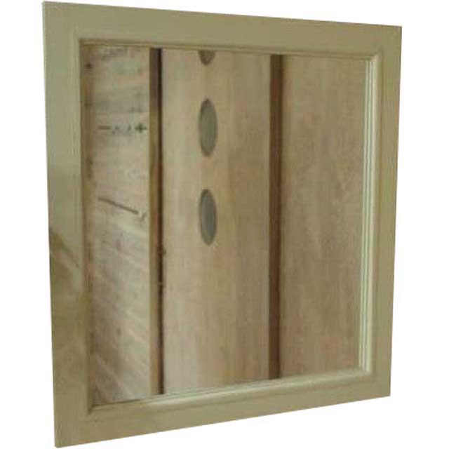 角型ミラー アンティークホワイト w50d2h55cm 木製フレーム 鏡 木製 ひのき オーダーメイド