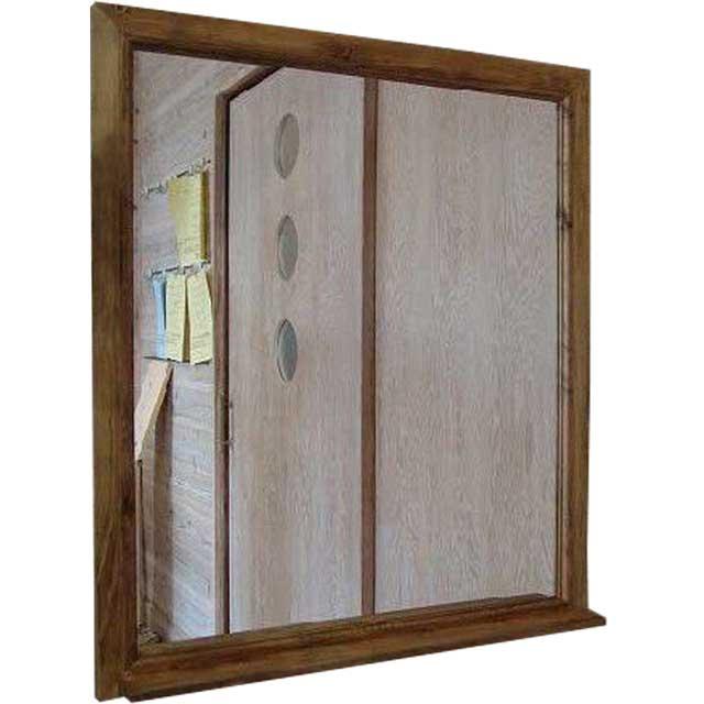 ミラーシェルフ アンティークブラウン w70d9h80cm 木製 ひのき オーダーメイド
