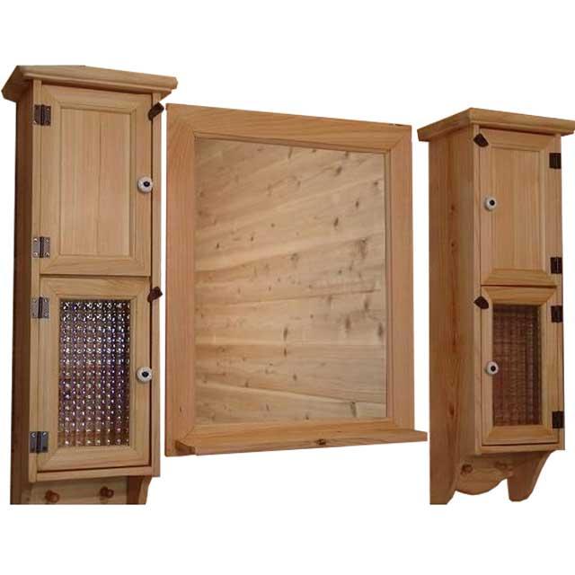 スリムキャビネット&ミラーシェルフ 洗面化粧台 ライトオーク w80d15h60cm セット 木製 ひのき オーダーメイド