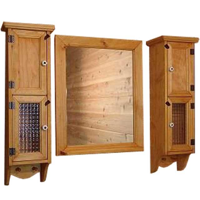 スリムキャビネット&ミラーシェルフセット ナチュラル w80d15h60cm 洗面化粧台 木製 ひのき オーダーメイド