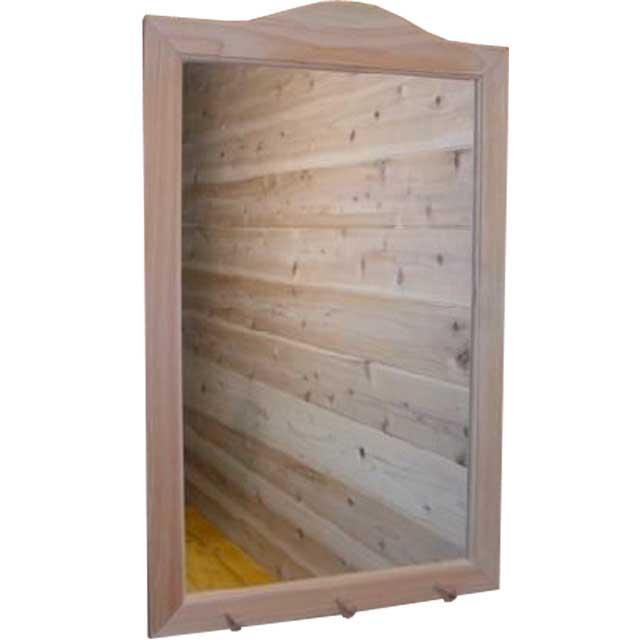 デザインミラー フックつき 無塗装白木 w45d2h70cm 木製 ひのき オーダーメイド