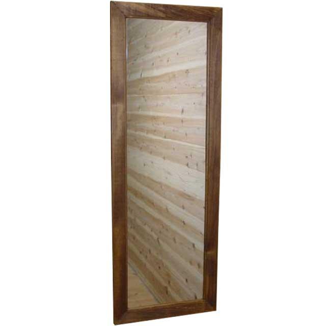 ミラー スリム アンティークブラウン w33d2h93cm 姿見鏡 木製 ひのき オーダーメイド