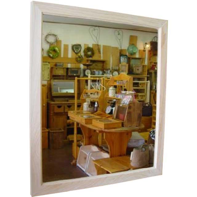 ミラー 大型 無塗装白木 w60d2h70cm 鏡 木製 ひのき オーダーメイド