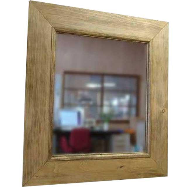 太枠ミラー アンティークブラウン w45d2h50cm 壁掛け 木製 ひのき オーダーメイド