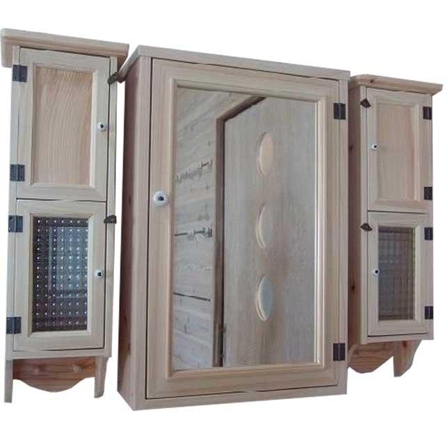 スリムキャビネット&ミラーキャビネット クロスガラス 無塗装白木 w80d15h60cm 洗面化粧台 木製 ひのき オーダーメイド