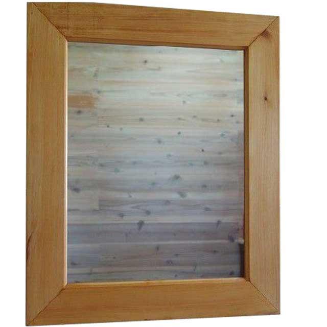 ミラー 太枠 ナチュラル w50d2h60cm 鏡 木製 ひのき オーダーメイド