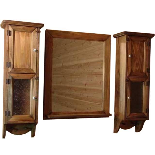 スリムキャビネット&ミラーシェルフセット アンティークブラウン w80d15h60cm 洗面化粧台 フローラガラス オーダーメイド 1361898