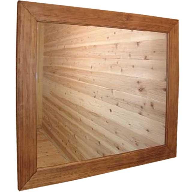 ミラー 大型 アンティークブラウン w85d2h75cm 横型 鏡 木製 ひのき オーダーメイド