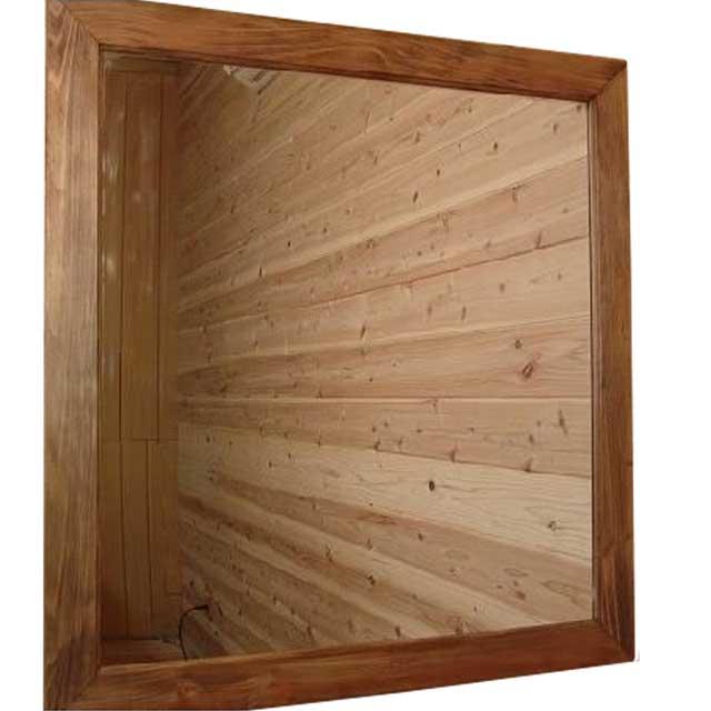ミラー 大型 アンティークブラウン 鏡 w80d2h85cm ウォールミラー ひのき 木製 オーダーメイド