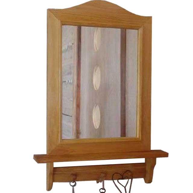 ミラーシェルフ ペグ付き ナチュラル w42d758cm 木製 ひのき オーダーメイド