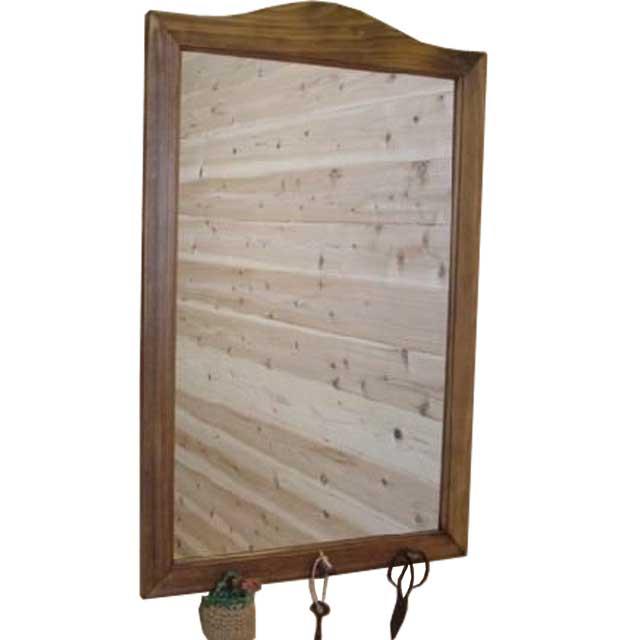 ミラー ペグつき アンティークブラウン 壁掛け鏡w45d6h70cm 木製 ひのき オーダーメイド