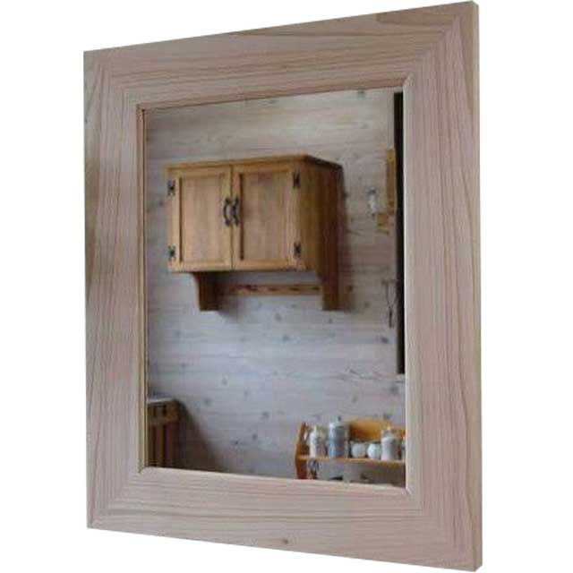 ミラー 太枠 無塗装白木 w50d2h60cm 鏡 ウッドフレーム 木製 ひのき オーダーメイド
