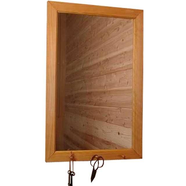 ミラー フックつき ナチュラル w45d6h70cm 鏡 木製 ひのき オーダーメイド