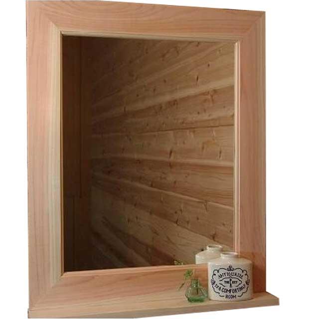 木製 太枠 ミラー シェルフ 鏡 無塗装 白木ひのき(50×60センチ) 受注製作