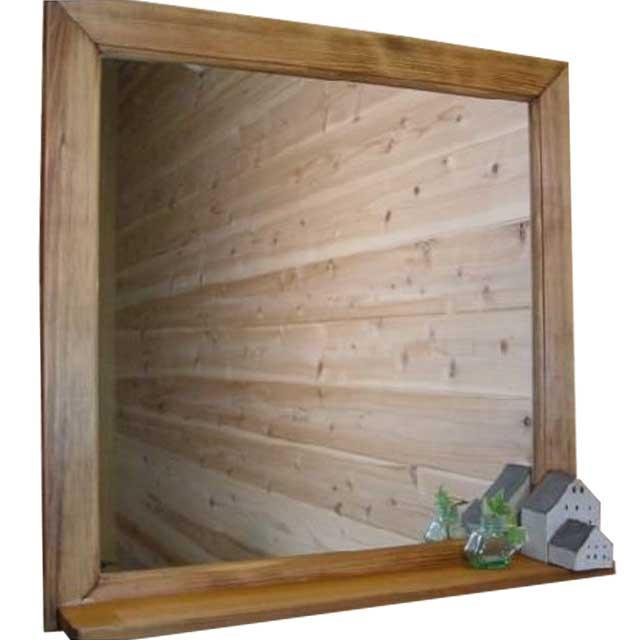 ミラーシェルフ 正方形 アンティークブラウン w50d7h50cm 木製 ひのき オーダーメイド