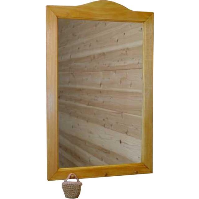 ミラー ペグつき ナチュラル w45d6h70cm 壁掛け 木製 ひのき オーダーメイド