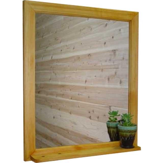 ミラーシェルフ ナチュラル w50d9h60cm 棚付き 木製 ひのき オーダーメイド