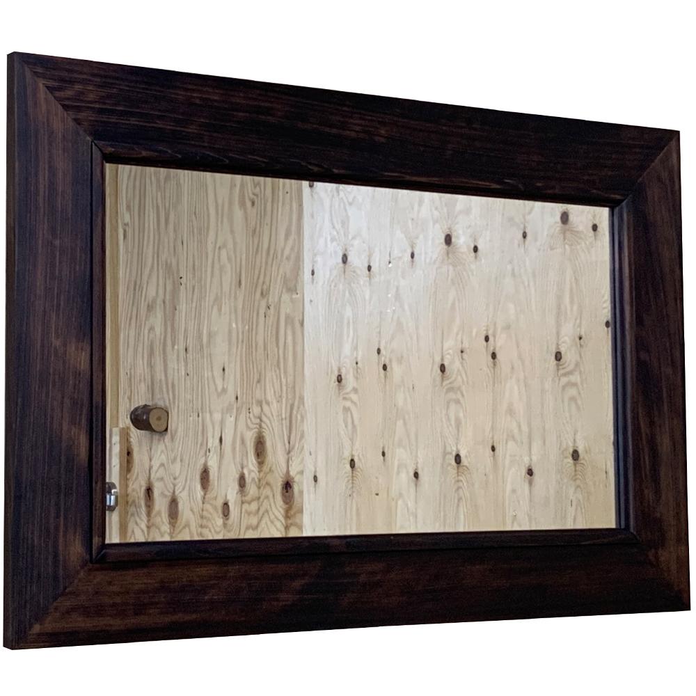 ミラー 太枠 吊り下げ金具付き ダークブラウン 75×2×50cm 角型 木製 ひのき ハンドメイド オーダーメイド