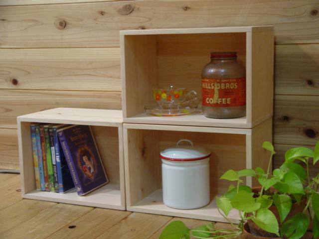 無塗装白木 ディスプレイボックス 三個組み(W33×D20×H22.5cm)DVDラックにも 受注製作