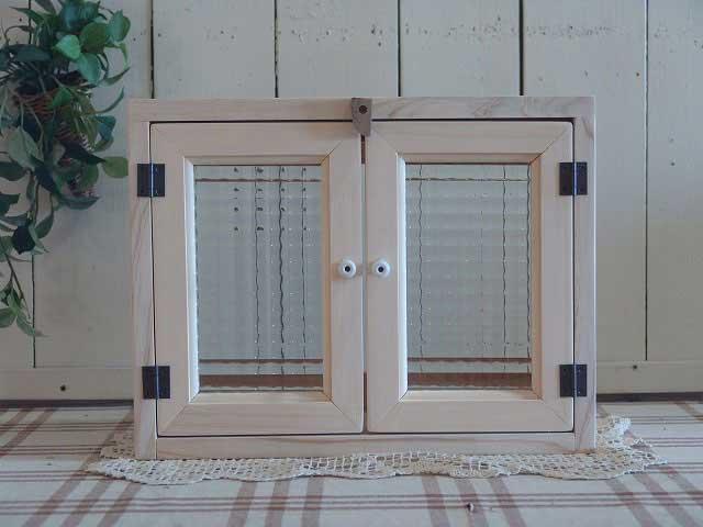 無塗装白木 フランス製チェッカーガラスのキャビネット(ニッチ用埋め込みタイプ)開閉クリット仕様 受注製作