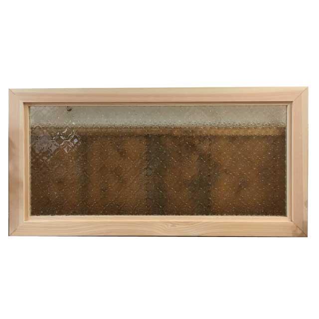 FIX窓・室内窓 木製 ひのき 無塗装白木 フローラガラスの室内窓 フィックス窓 両面仕様 70×35cm・厚み3.5cm 北欧 オーダーメイド 1327933