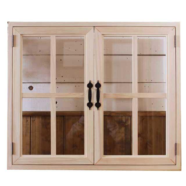 室内窓 採光窓 透明ガラス扉 無塗装白木 木製 ひのき 75×15×64cm・厚み3cm マグネット仕様 両面桟 アイアン取っ手つき 北欧 オーダーメイド 1327933