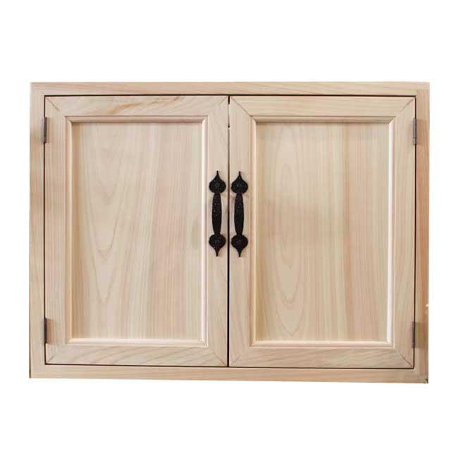 室内窓・採光窓 木製 ひのき 無塗装白木 木製扉 マグネット仕様 ニッチ・吹き抜け窓用窓枠風扉 60×4.5×45cm オーダーメイド