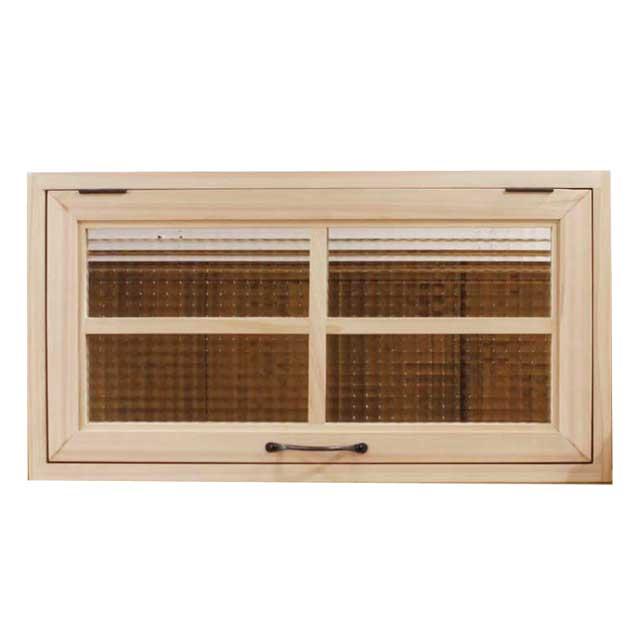 突き出し窓 木製 ひのき チェッカーガラス 採光窓 フラップアップ式 両面仕様 60×10.5×30cm・扉の厚み3cm 無塗装白木 オーダーメイド 1327933