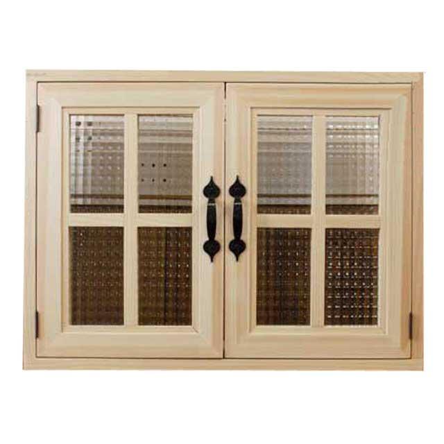 室内窓 採光窓 チェッカーガラス扉 木製 ひのき(60×15×45cm・厚み3cm) マグネット仕様 両面桟・取っ手つき 北欧(無塗装白木) オーダーメイド 1327933