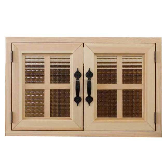カフェ窓 木製 ひのき 室内窓 採光窓 チェッカーガラス扉 53×16.5×34cm 扉厚み3cm 両面仕様 北欧 無塗装白木 オーダーメイド 1327933