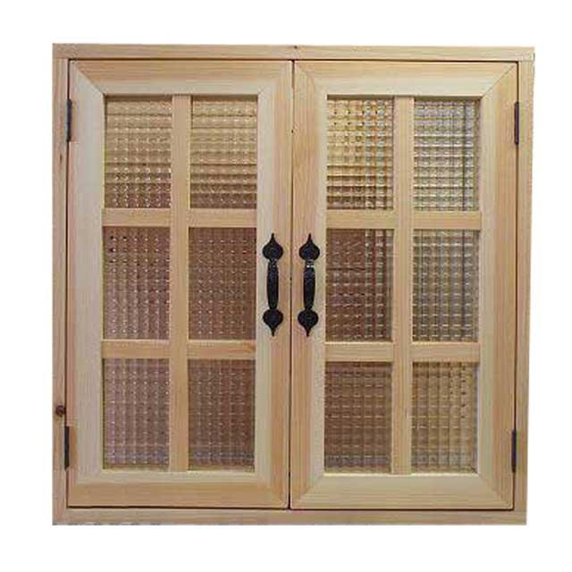 室内窓 採光窓 チェッカーガラス 木製 ひのき 無塗装白木 60×15×60cm・厚み3cm マグネット仕様 両面桟・取っ手つき 北欧 オーダーメイド 1327933
