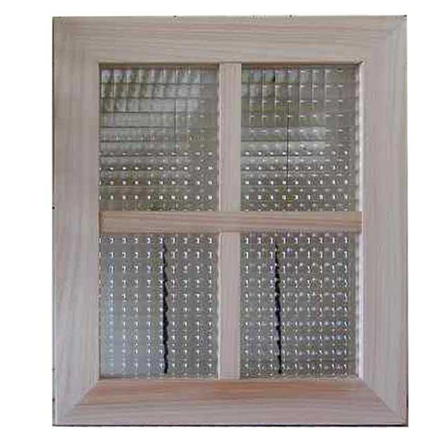 FIX窓 室内窓 木製 ひのき チェッカーガラスの室内窓 無塗装白木 フィックス窓 両面仕様桟入り 40×35cm・厚み3.5cm オーダーメイド 1327933