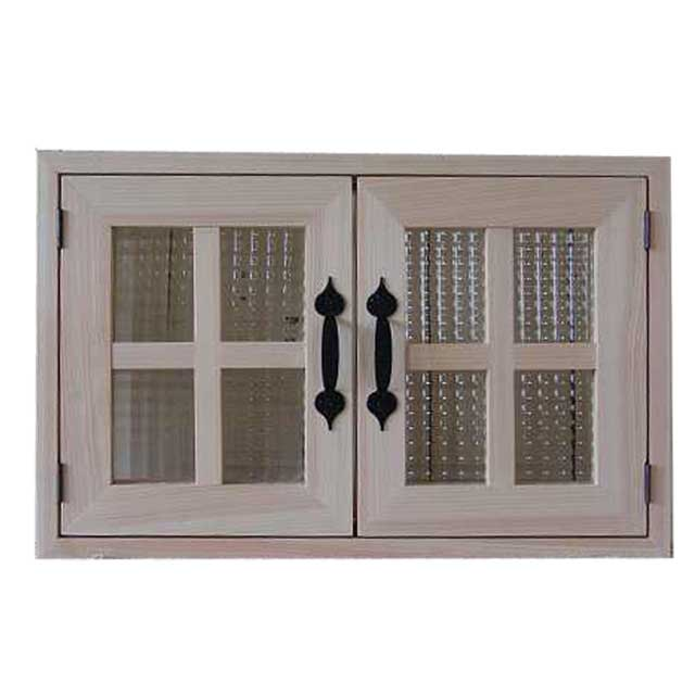 室内窓 採光窓 チェッカーガラス 無塗装白木 木製 ひのき 53×34cm・厚み3cm マグネット仕様 両面桟・取っ手つき 北欧 オーダーメイド