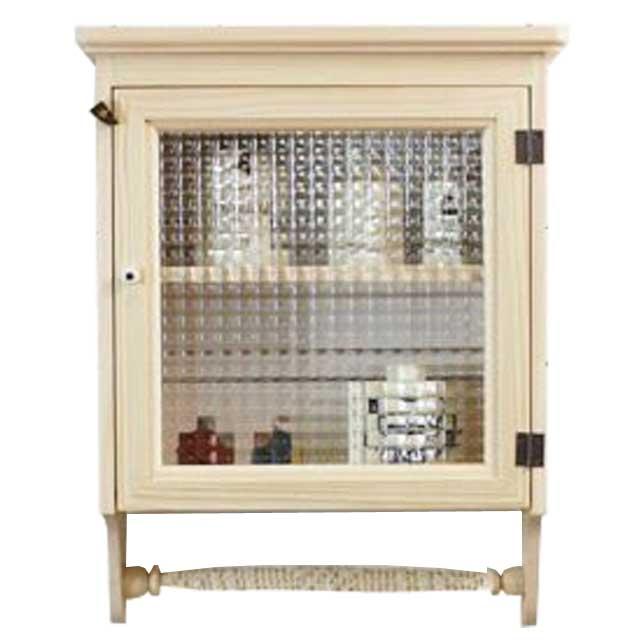 キャビネット 壁掛け 木製 ひのき チェッカーガラス扉 片開き扉 二段棚仕様 ハンガーキャビネット(無塗装白木) オーダーメイド