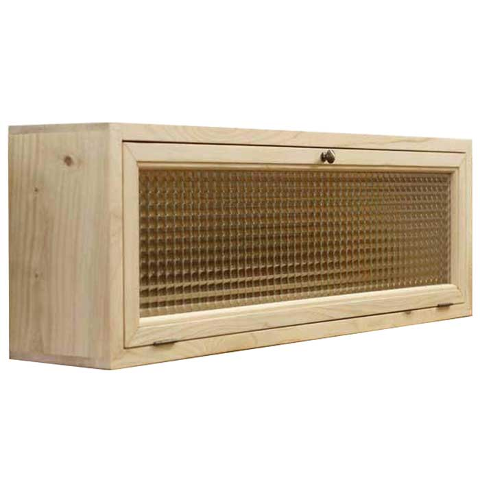 キャビネット 木製 ひのき フランス製チェッカーガラス 横型 80×15×26cm おうちカフェ キッチンカウンター上収納 無塗装白木 受注製作